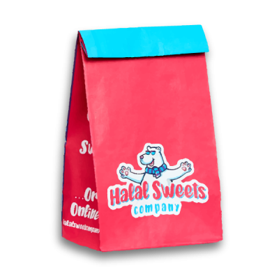 Graphic of Halal Sweets Company Pick 'n' Mix iconic bag. The bag is pink and blue with the company logo on the front and Benji the bear.